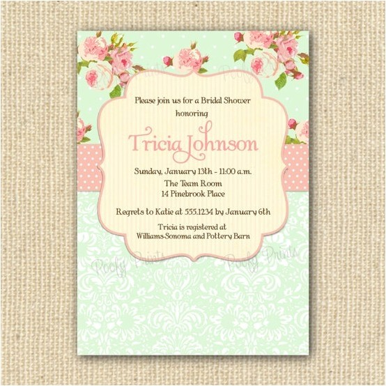 shabby chic bridal shower invitations printabl