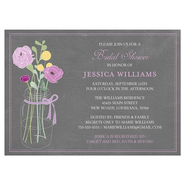 shabby chic bridal shower invitations purple flat cards