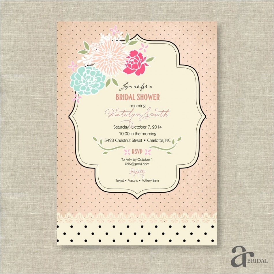 shabby chic bridal shower invitations template