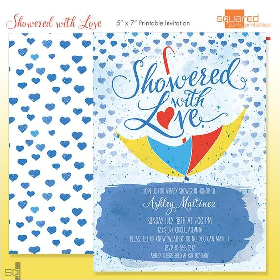 watercolor baby shower invitation diy print
