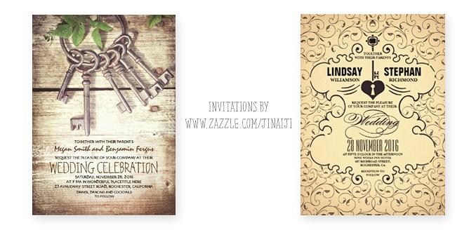 lock and key wedding invitations