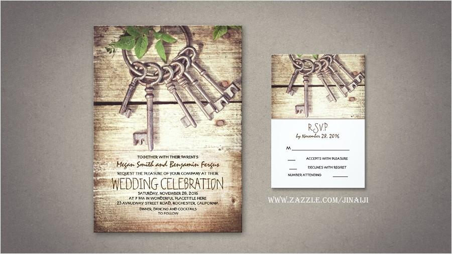 read more rustic wedding invitation with skeleton keys