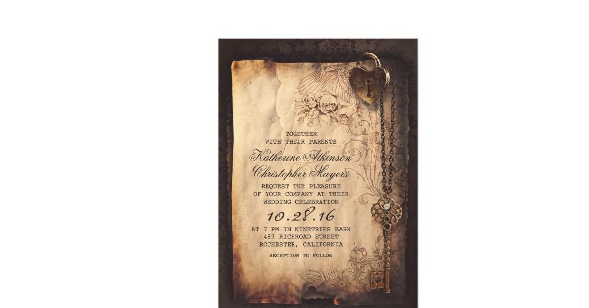 skeleton key vintage wedding invitations 161793646490666651