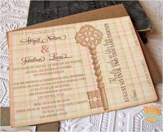 Skeleton Key Wedding Invitations Vintage Wedding Invitation Skeleton Key by Sunshineandravioli