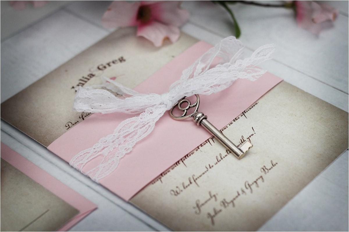 vintage wedding invitations with skeleton key