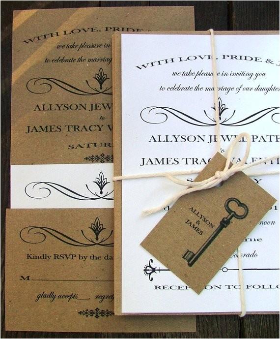 wedding invitations skeleton key modern