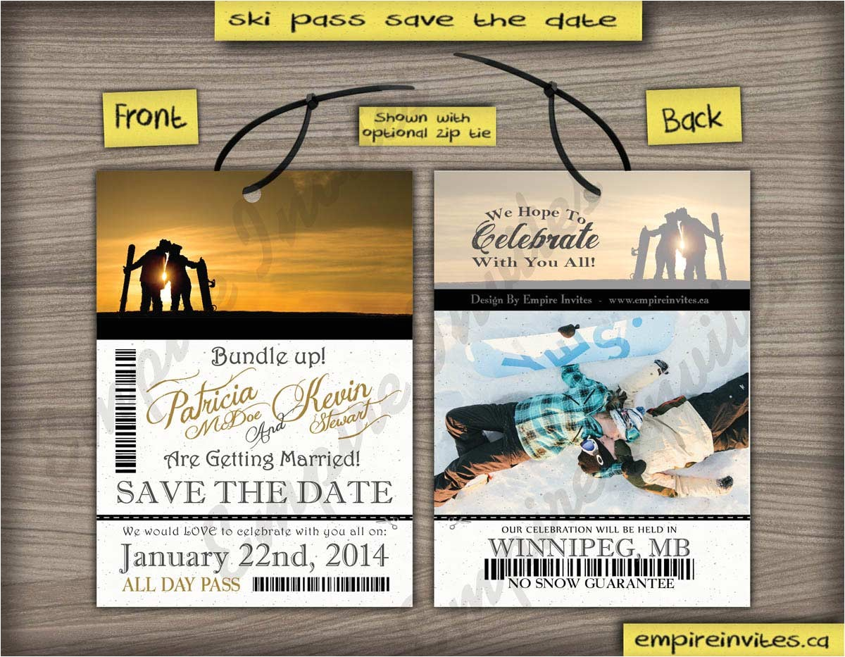 ski pass lift ticket save the date passes