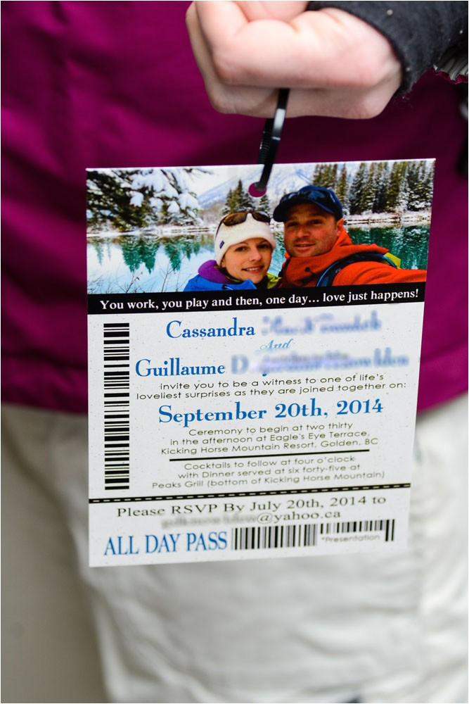 lift ticket wedding invitations kicking horse golden bc