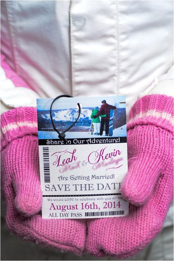 ski pass lift ticket wedding invitations