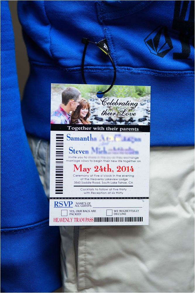 ski pass lift ticket wedding invitations lakeview lodge tahoe