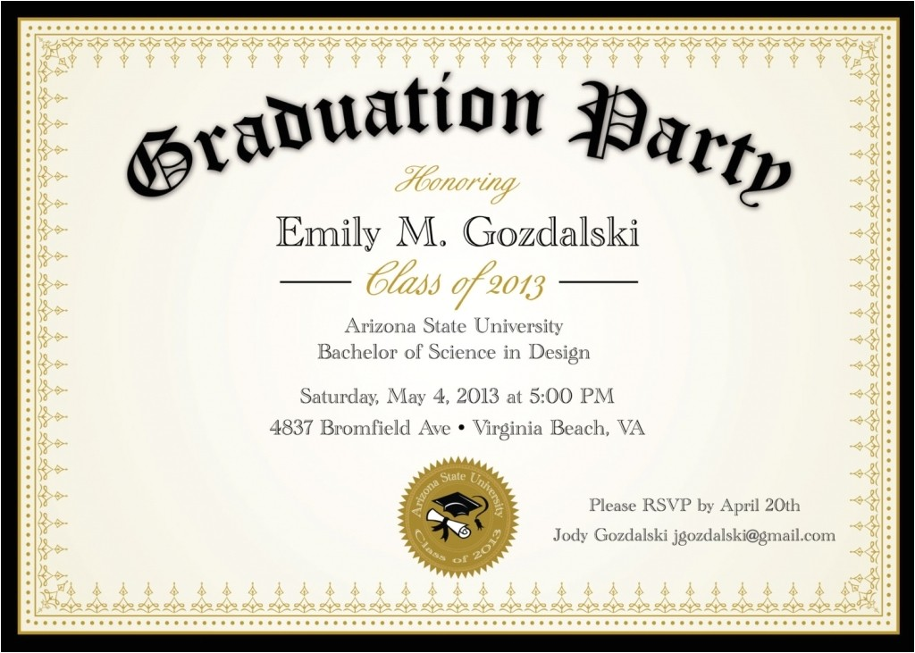 diploma graduation party invitations grad announcement 3