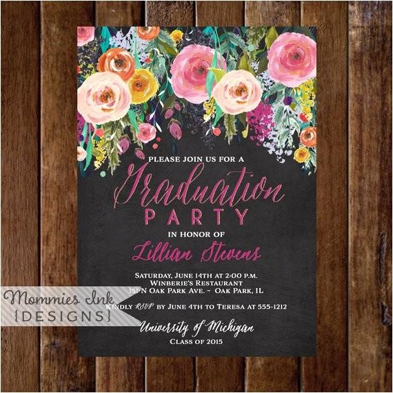 graduation party invitation watercolor flowers invitation 6