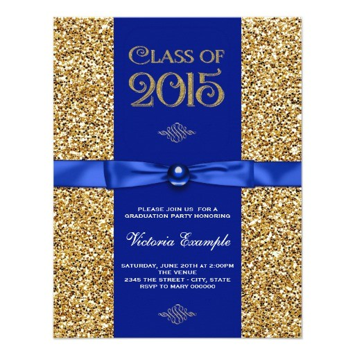 blue and gold glitter graduation announcements 256589014029260956