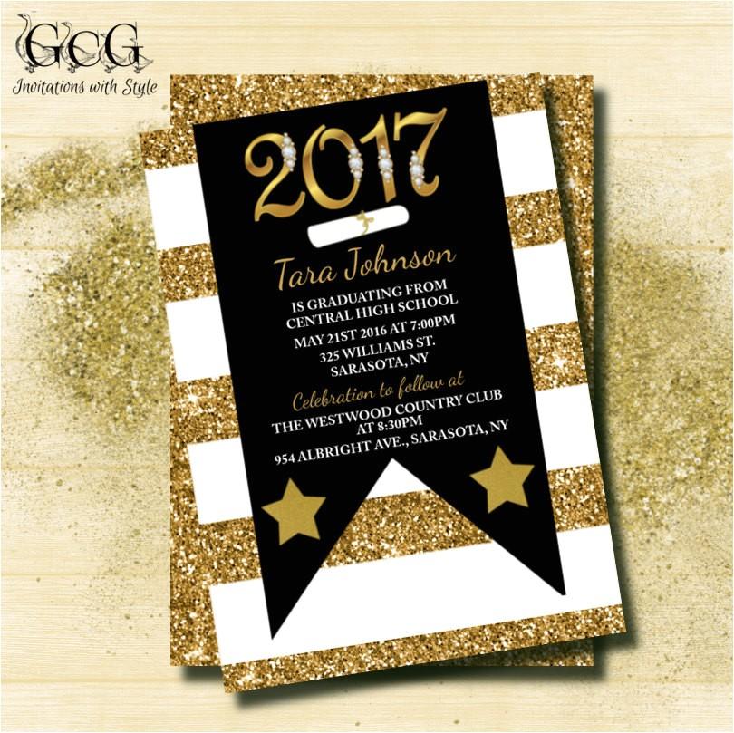glitter graduation invitation graduation