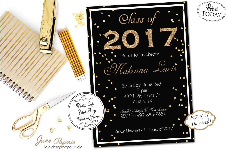 instant download graduation invitation