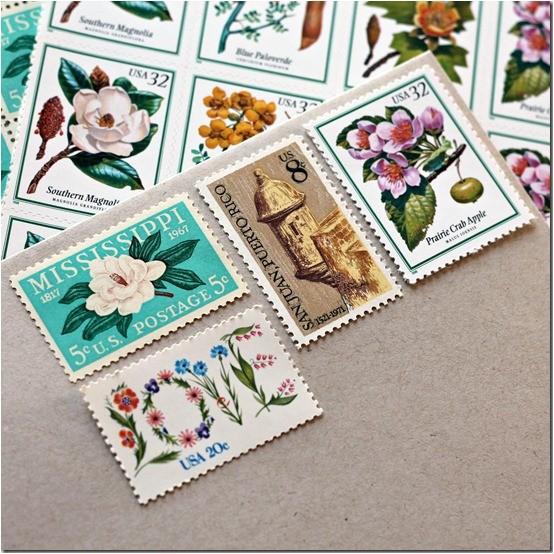 vintage postage for wedding invitations