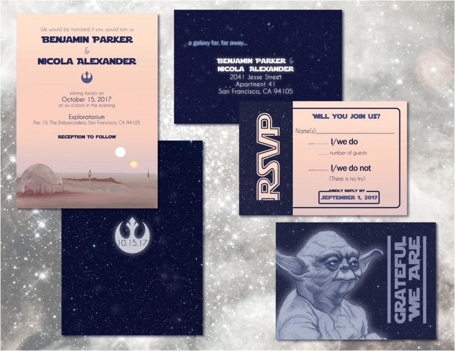 star wars wedding invitation set custom digital invitations geeky weddings