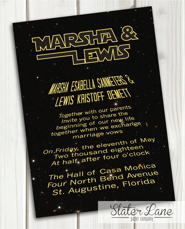 star wars wedding invitation theme