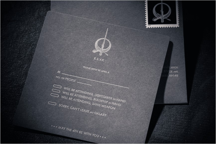 custom star wars wedding invitation
