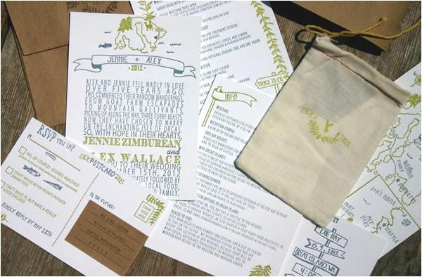 summer camp woodland inspired wedding invitations