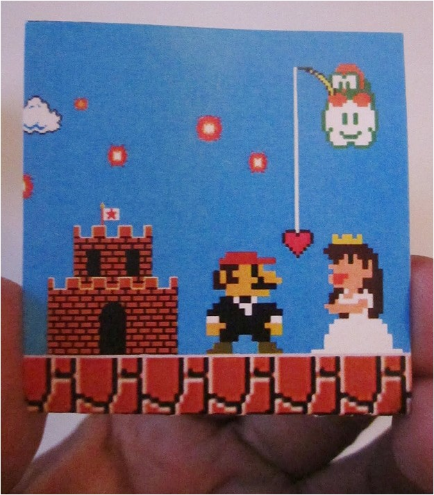 retro super mario 8 bit wedding invitations