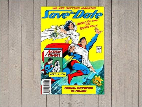 comic book wedding invitation superman
