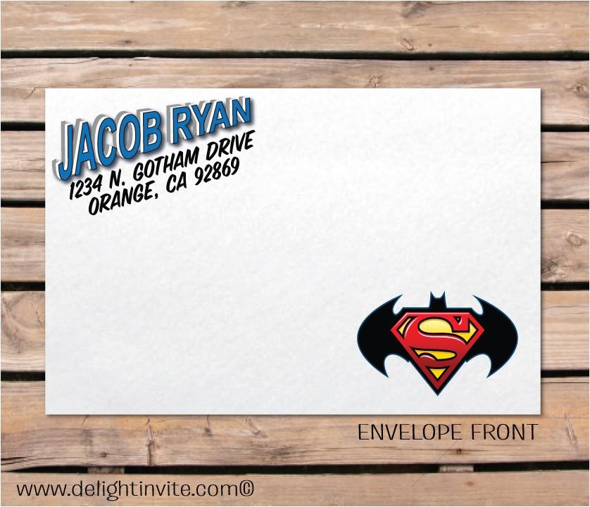 superman batman invitation envelope p 2632