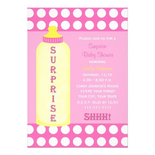 surprise baby shower invitation pink baby bottle 161579360665032964