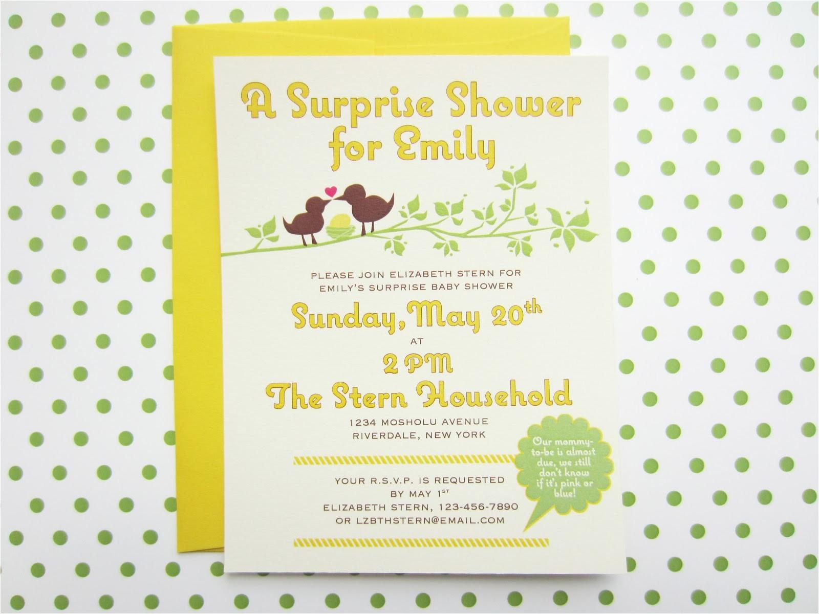 surprise baby shower invitation