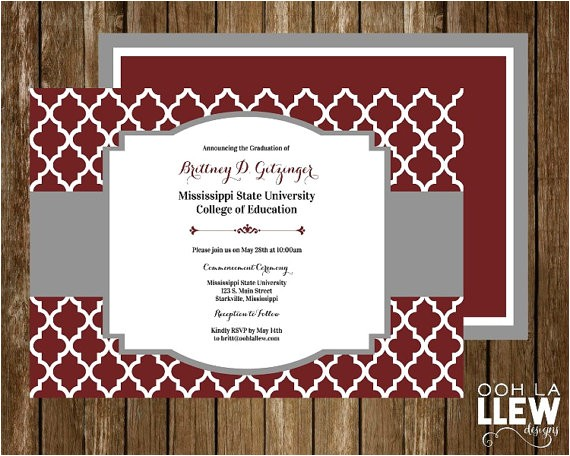msu or texas am graduation announcement and by oohlallew on etsy