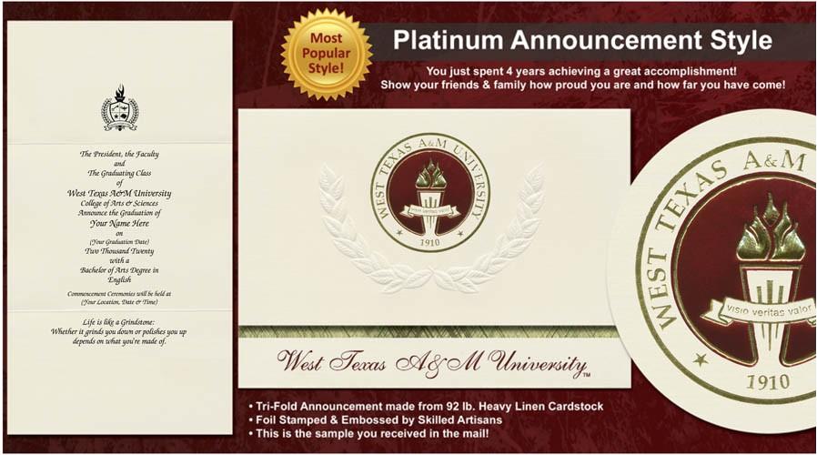 west texas a m university graduation announcements