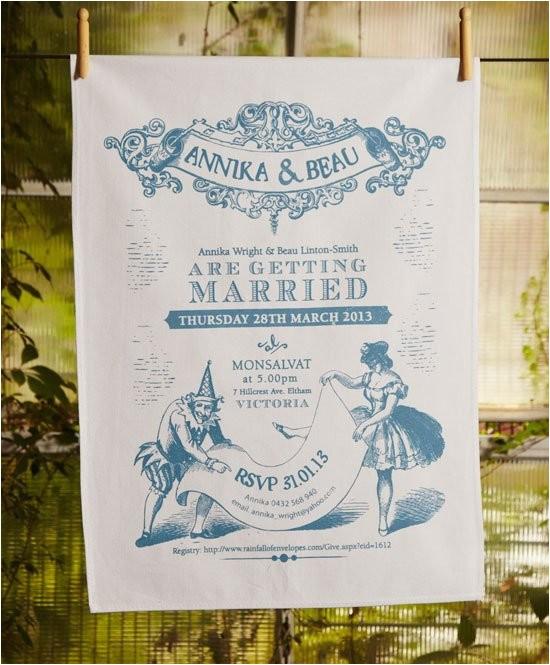 Tea towel Wedding Invitations Wedding Invitation Tea towels Printed In Australia