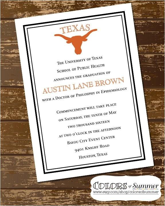 longhorn graduation invitation texas