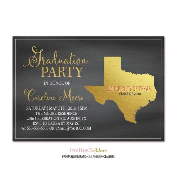 texas chalkboard graduation party invitation black