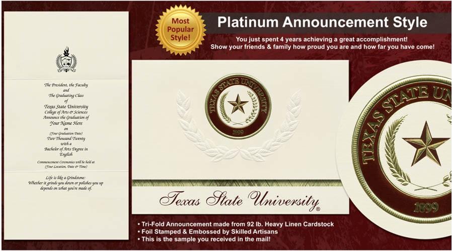 Texas State University Graduation Invitations Texas State University Graduation Announcements Texas