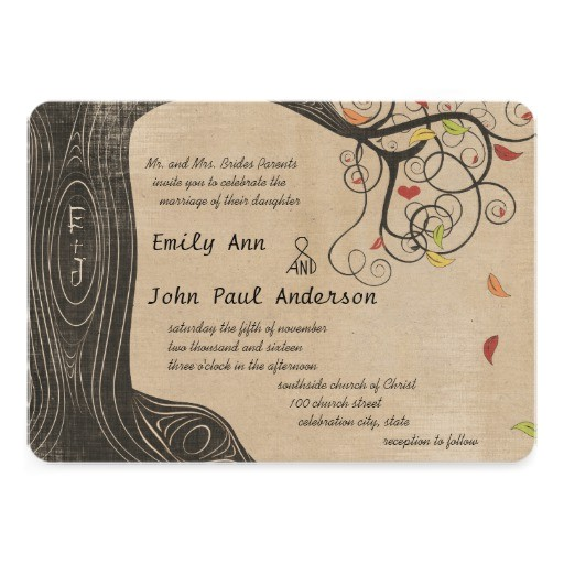 fall colors tree linen texture paper wedding invitation 161470385251523274