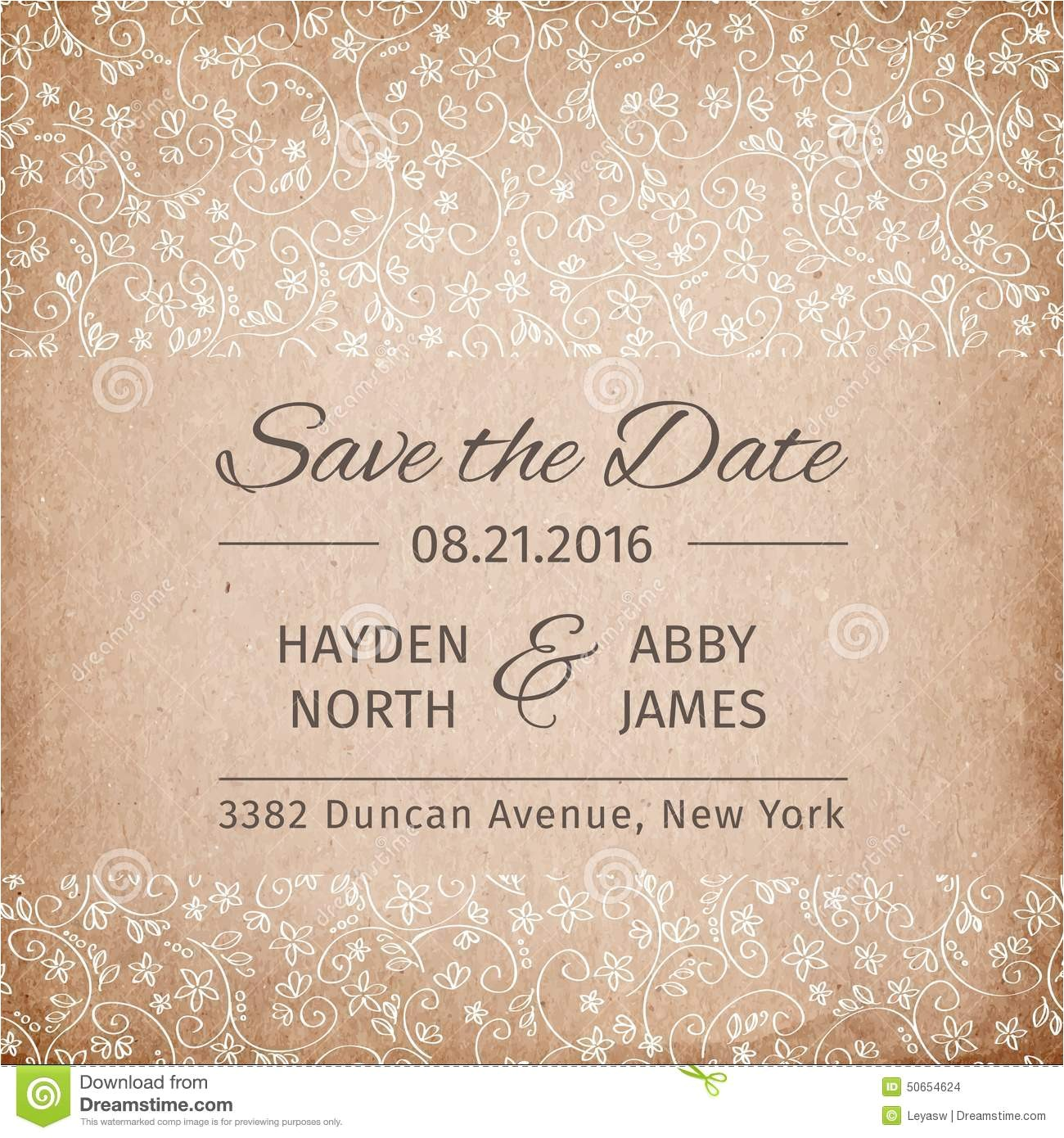 stock illustration save date wedding invitation template vintage paper texture vector illustration vectorillustration image50654624
