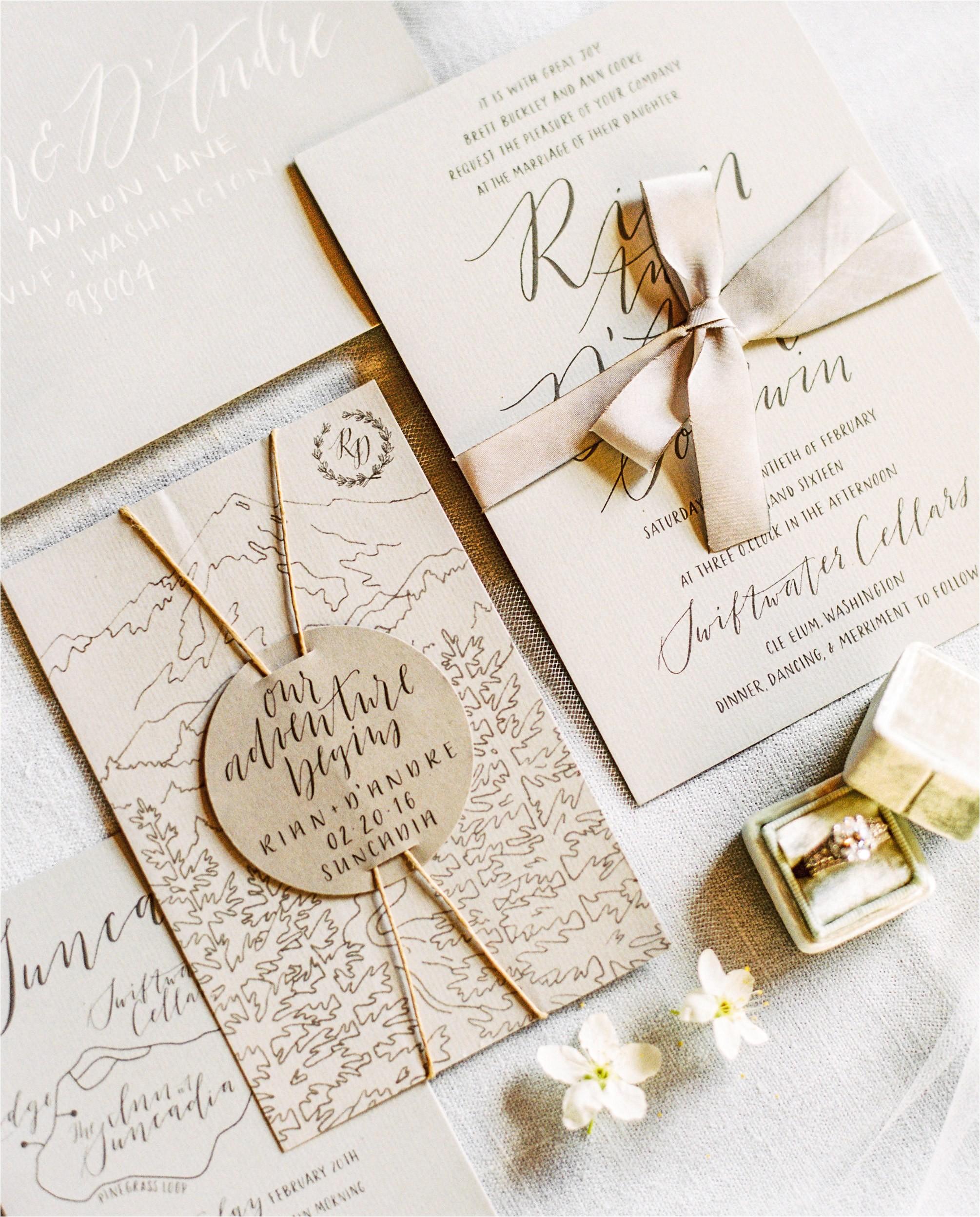 textured rustic wedding invitations