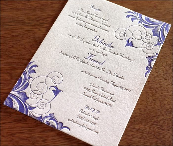 wedding invitations 21st bridal wedding with magenta blueish outline embossed art style drawing embossed textured paper with foldable paper
