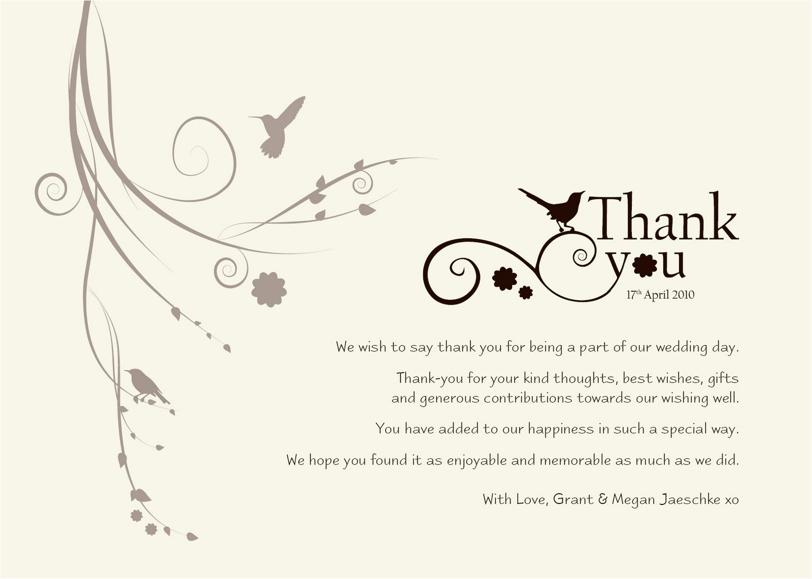 thank you wedding wording did not attend wedding invitations