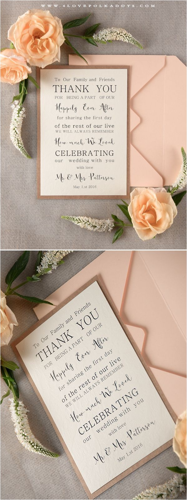 wedding invitation thank you letter