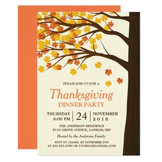 elegant thanksgiving invitations template