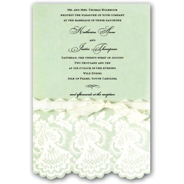 embossed and diecut mint wedding invitations p 2 em786 w