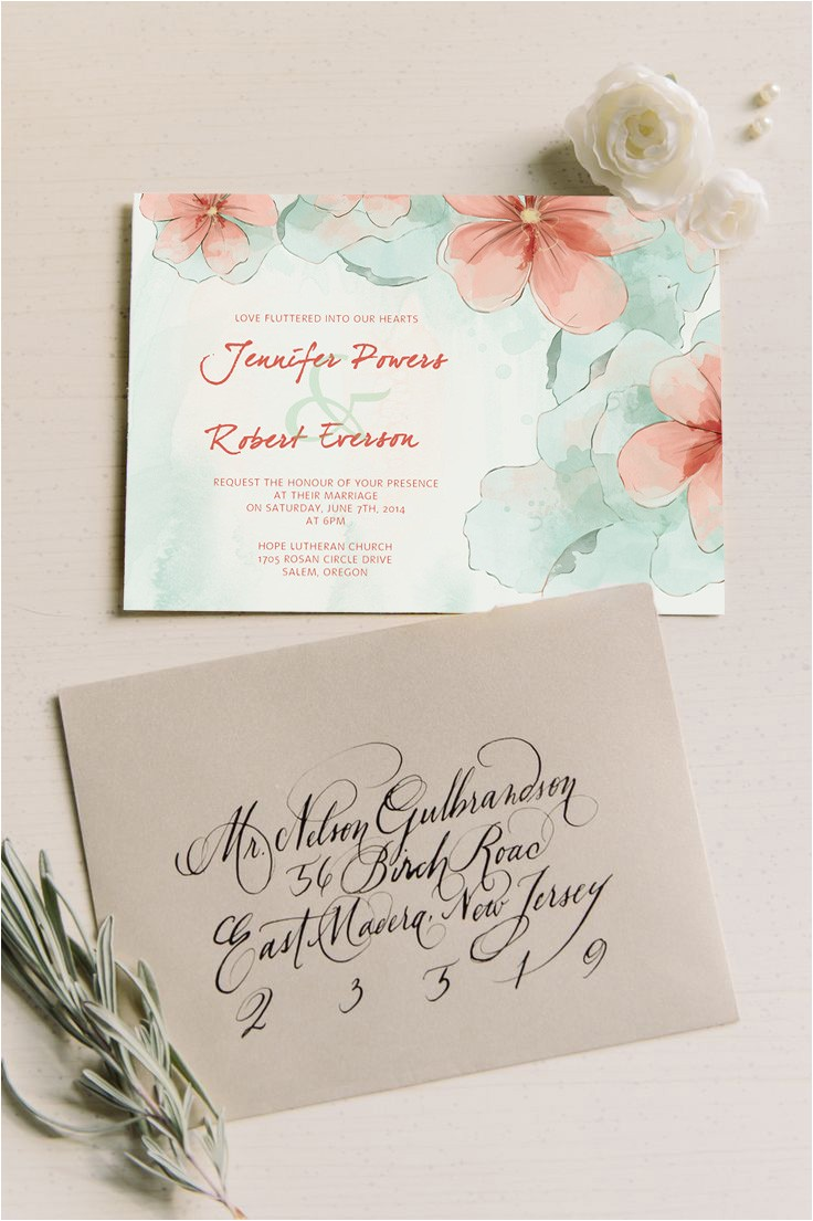 spring mint green and peach flower watercolor wedding invitations ewi377