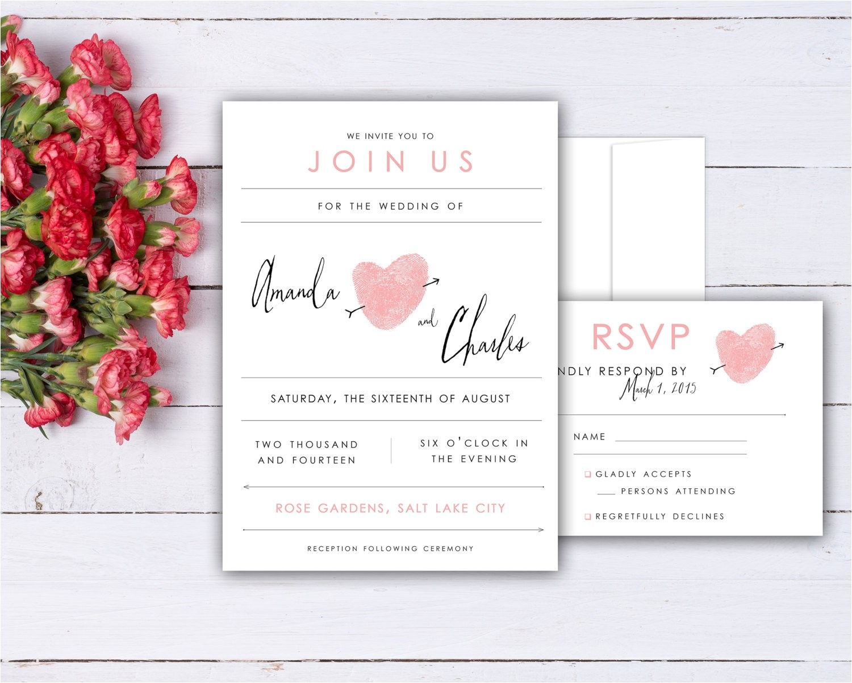 fingerprint heart wedding invitation and