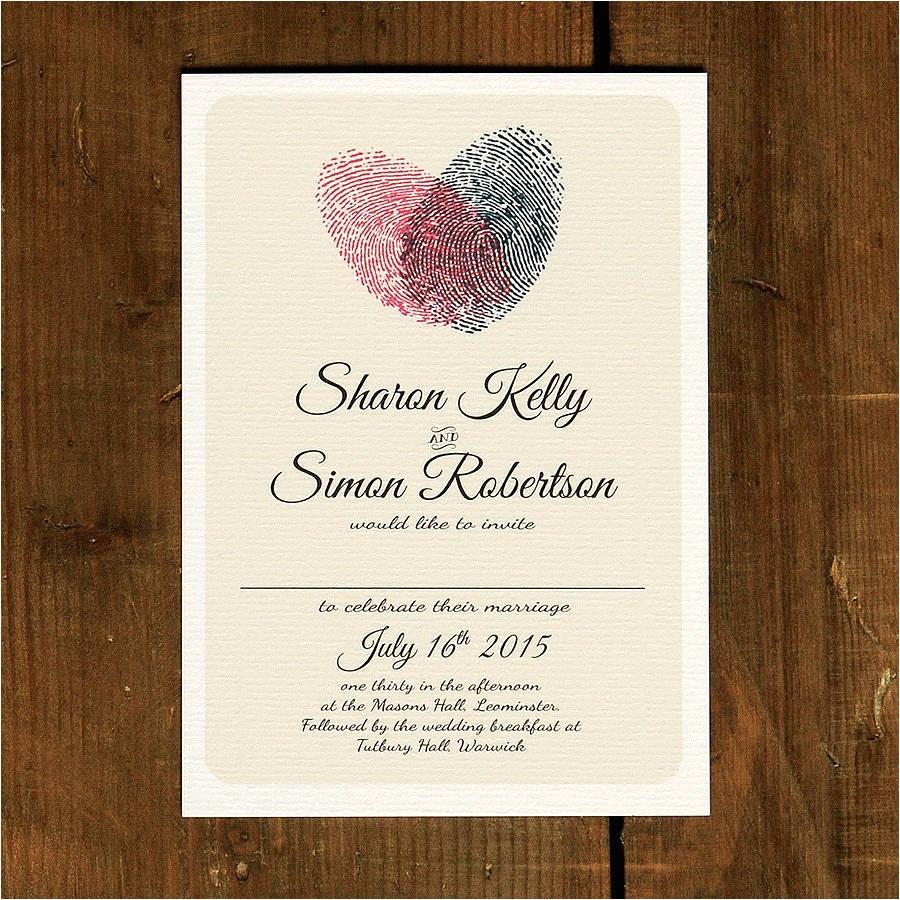 Thumbprint Heart Wedding Invitation Fingerprint Heart Wedding Invitation and Save the Date by