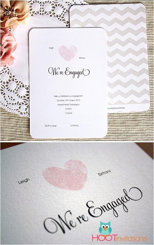 thumbprint heart engagement invitation