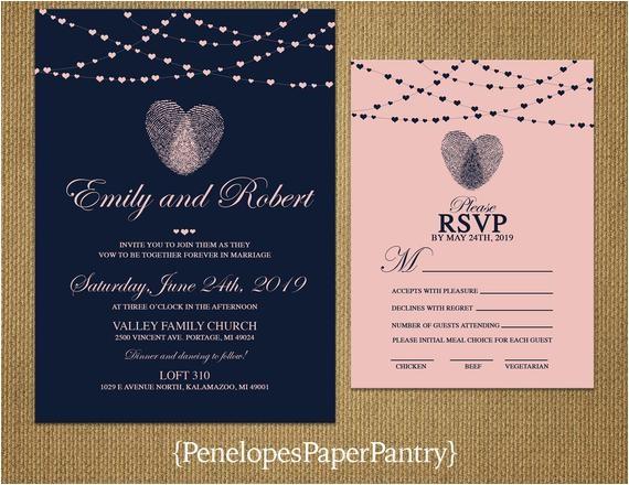 thumbprint heart wedding invitationnavy