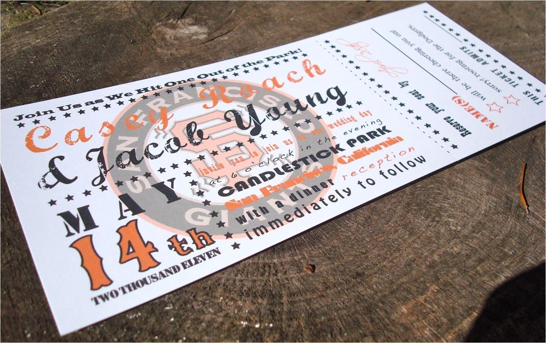 baseball ticket wedding invitation