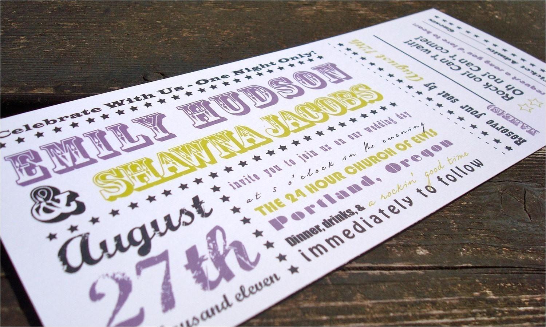 concert ticket wedding invitation sample